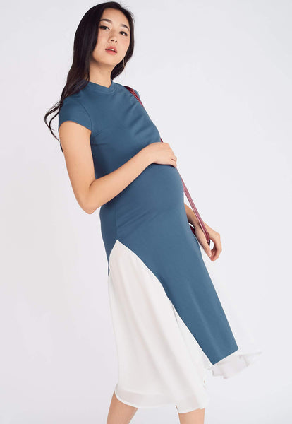 Nara Asymmetric Nursing Dress in Blue