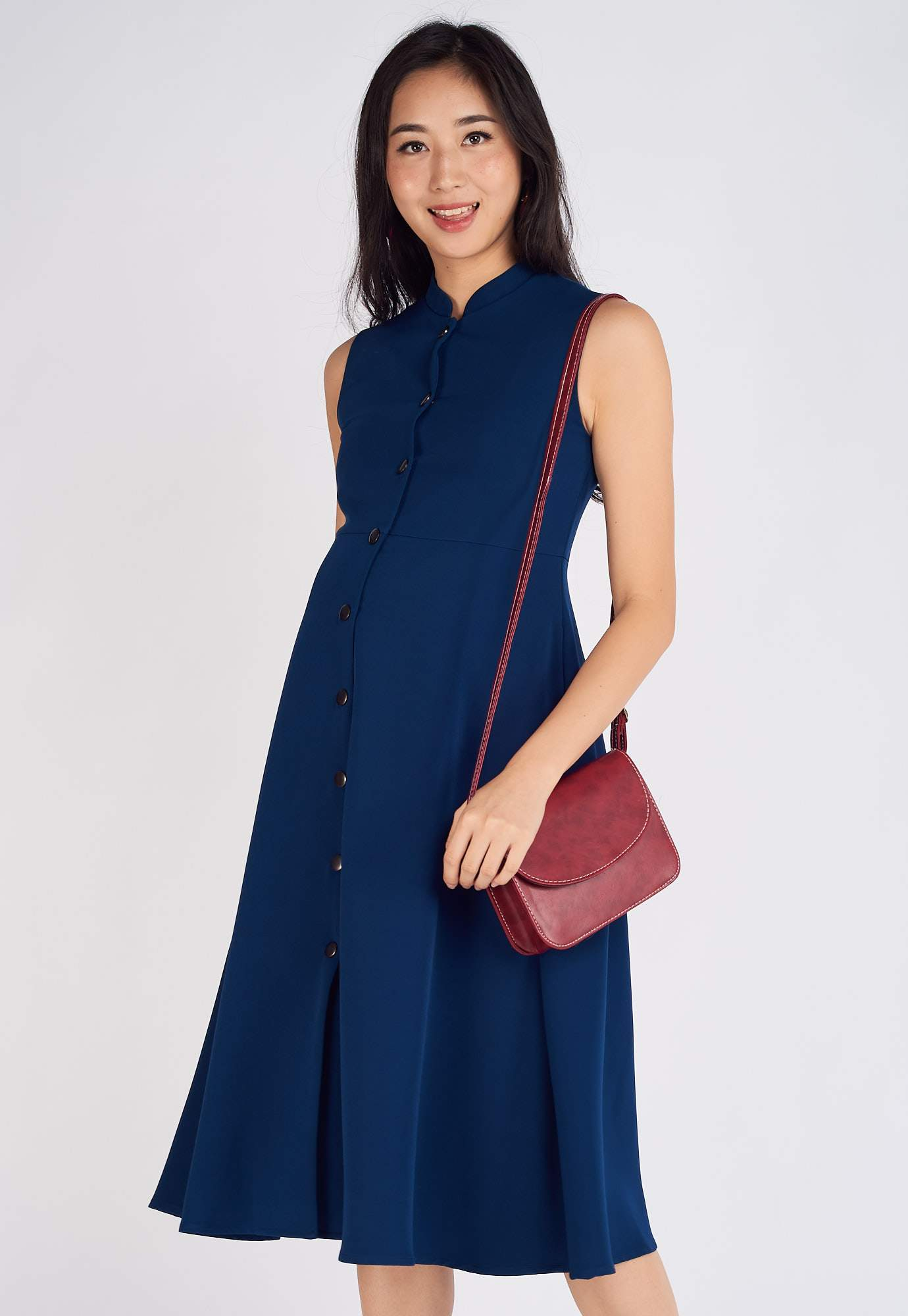 Mavis Mandarin Collar Nursing Dress in Blue  by Jump Eat Cry - Maternity and nursing wear