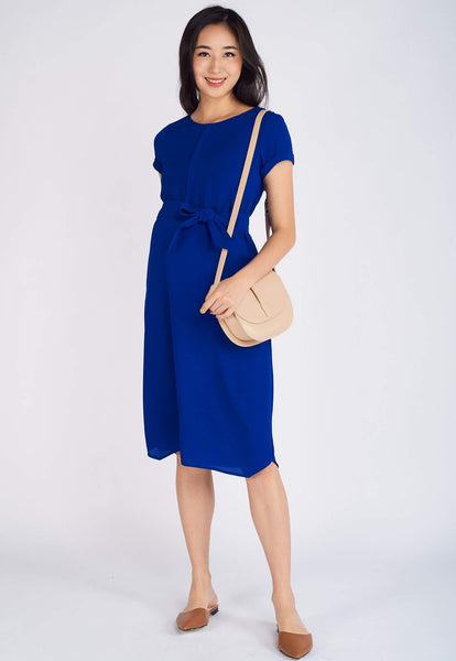 Astrid Sashed Nursing Dress in Blue