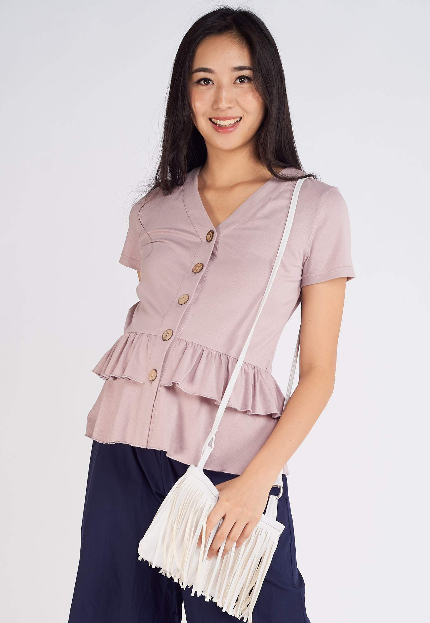 Dayna Flared Nursing Top in Purple  by Jump Eat Cry - Maternity and nursing wear