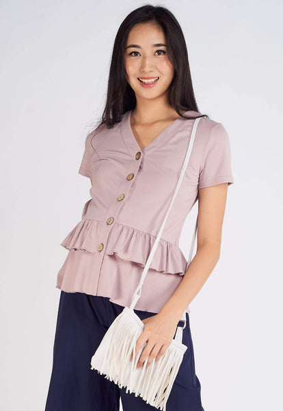 Dayna Flared Nursing Top in Purple