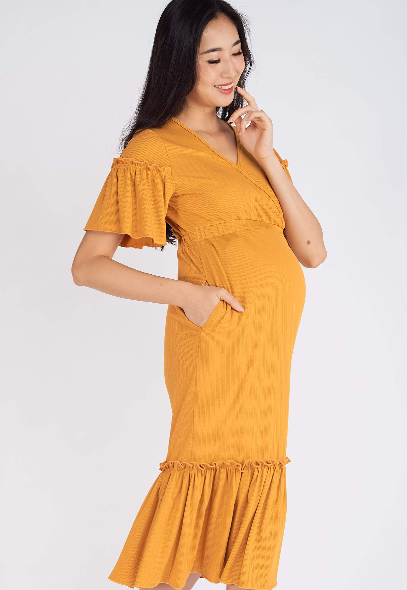Rikku Ruffled Nursing Dress in Yellow  by Jump Eat Cry - Maternity and nursing wear