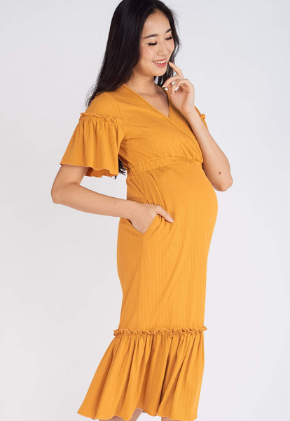Rikku Ruffled Nursing Dress in Yellow