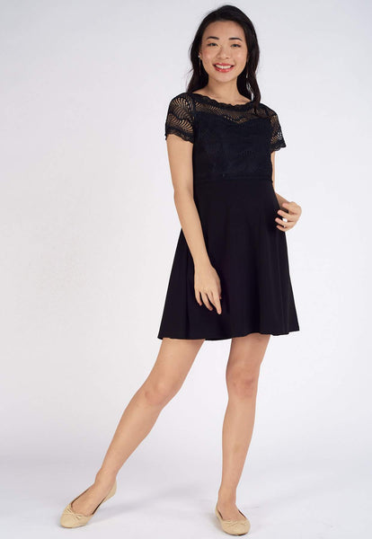 Patrice Lace Top Nursing Dress in Black