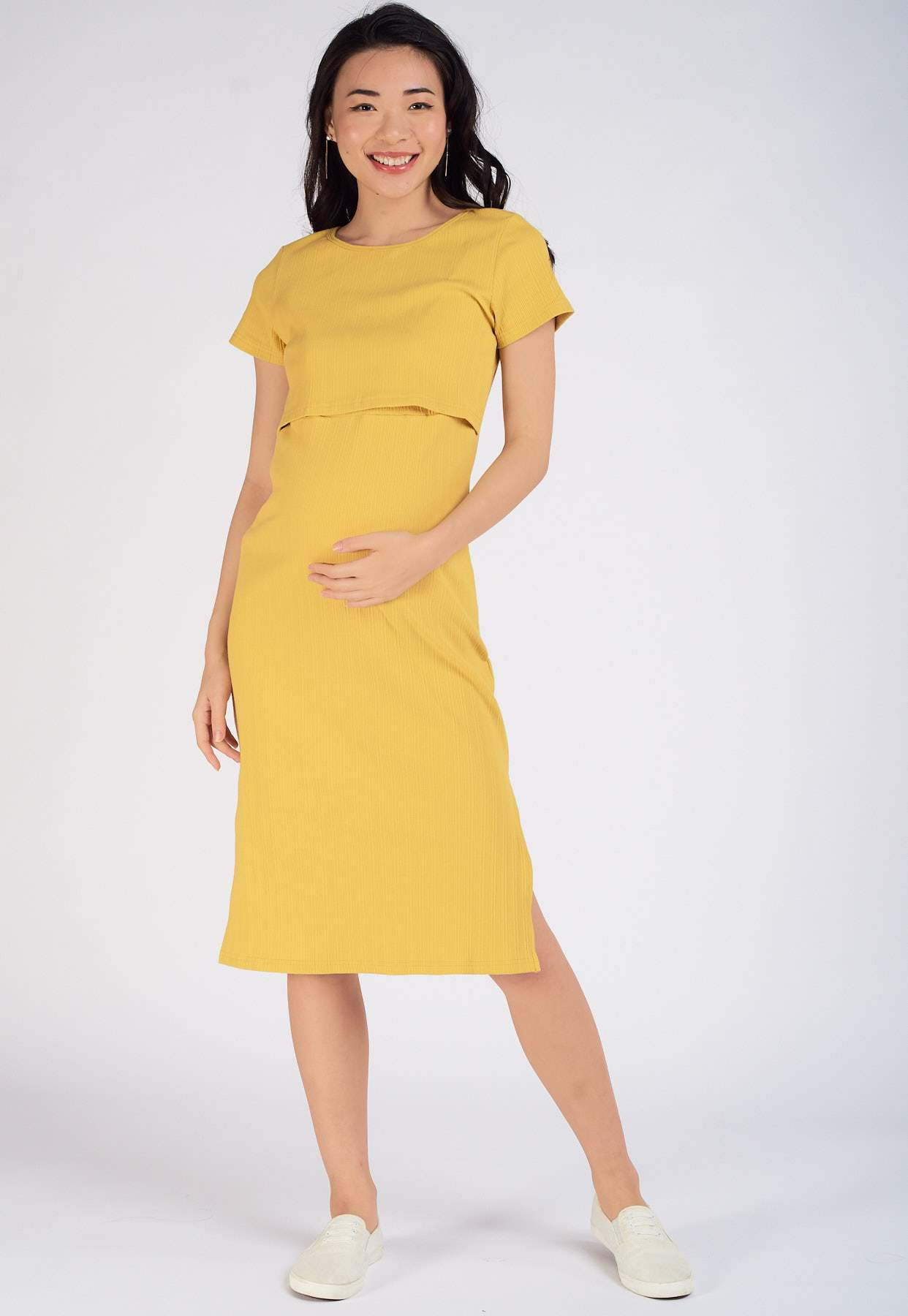 Leslie Ribbed Nursing Dress in Yellow  by Jump Eat Cry - Maternity and nursing wear