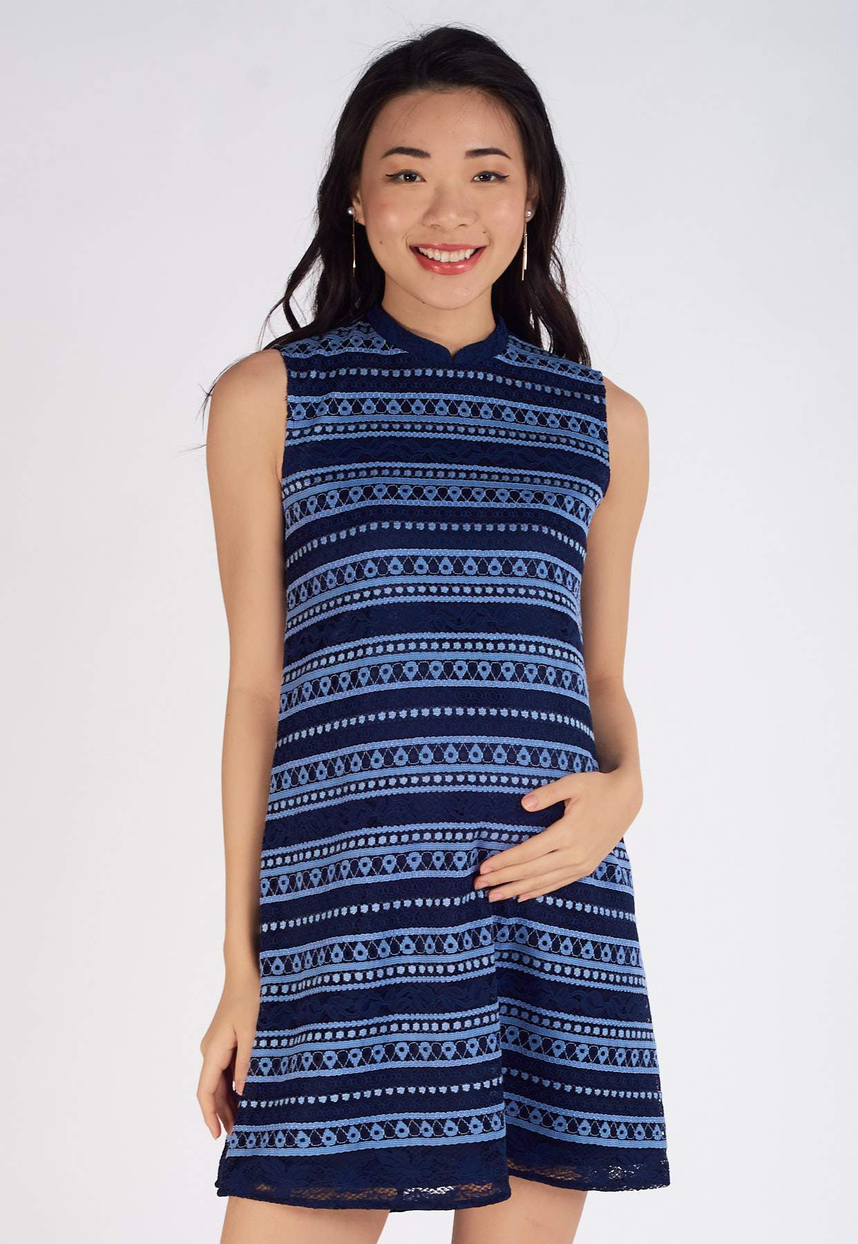 Tina Lace Nursing Dress in Navy  by Jump Eat Cry - Maternity and nursing wear