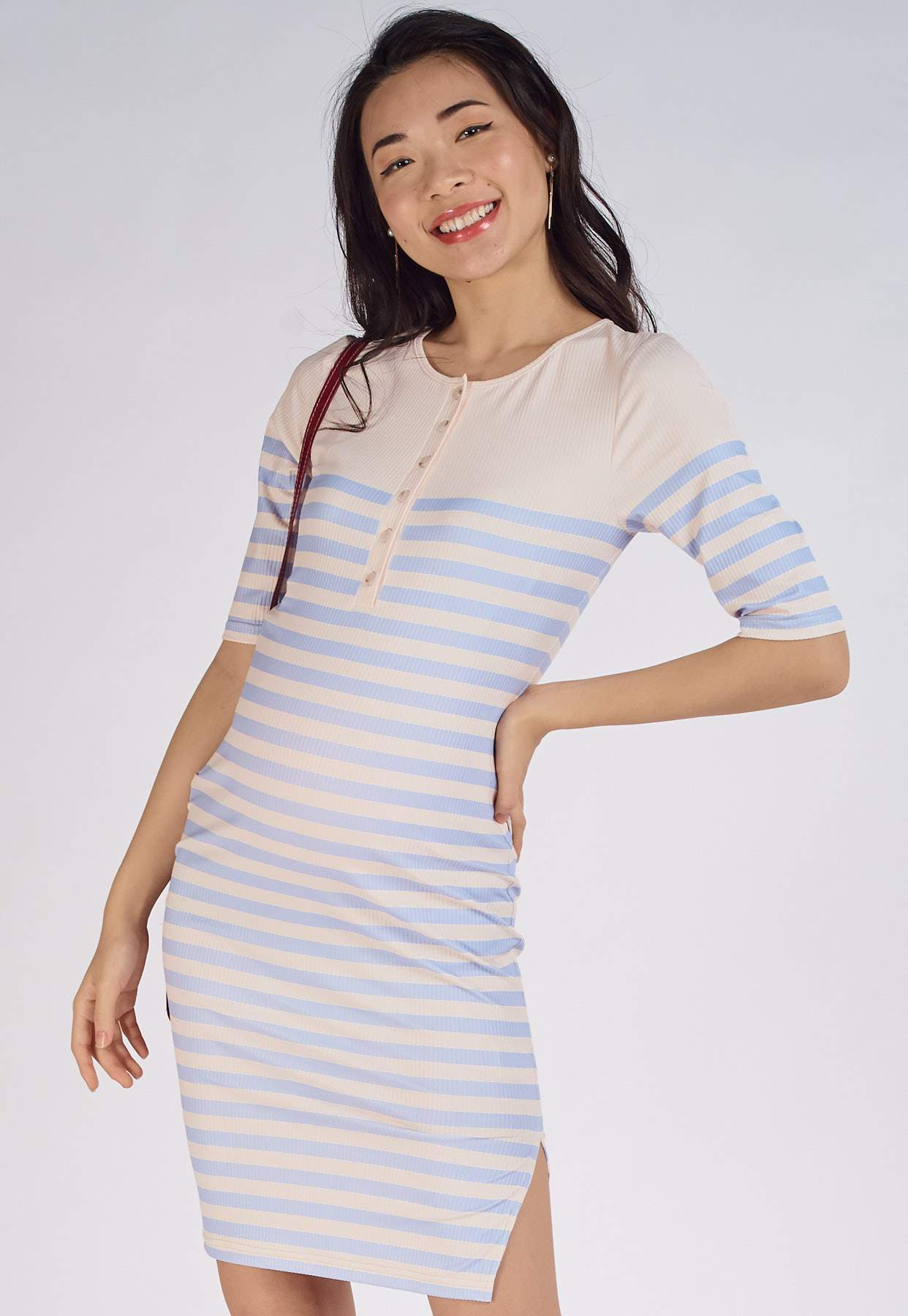 Elodie Ribbed Nursing Dress in Blue  by Jump Eat Cry - Maternity and nursing wear
