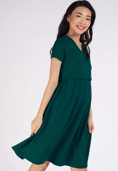 Pleated Jersey Nursing Dress in Forest Green