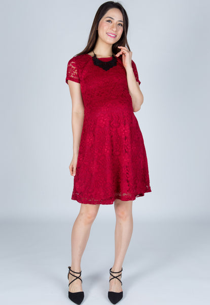 Classy Red Lace Nursing Dress