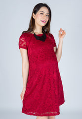 Mothercot SALE Classy Red Lace Nursing Dress  by JumpEatCry - Maternity and nursing wear