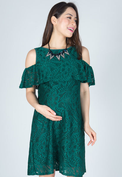 Green Ava Cold Shoulder Nursing Dress