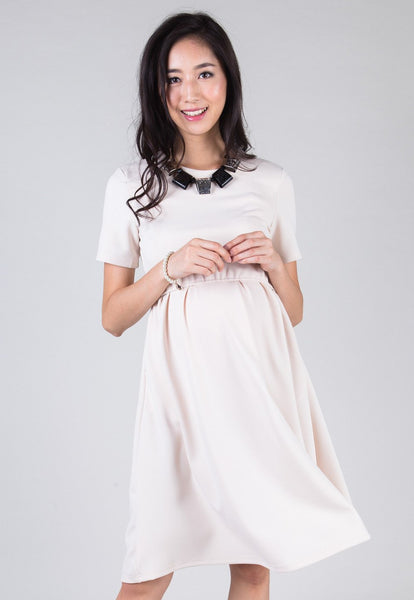 Beige Fit And Flare Nursing Dress