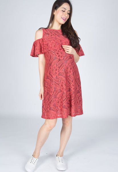 Ava Cold Shoulder Nursing Dress