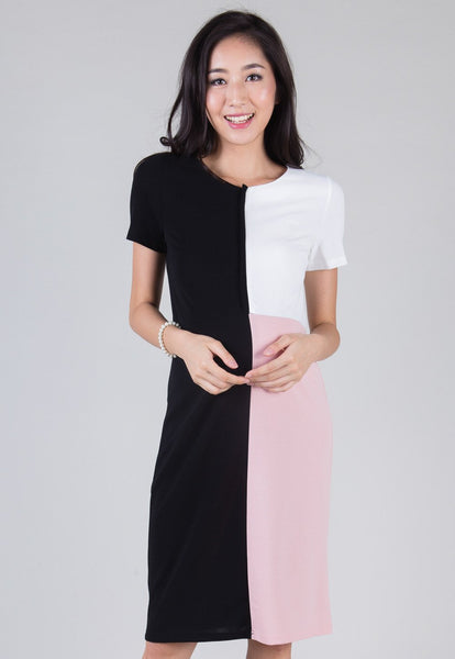 Colour Block Midi Nursing Dress