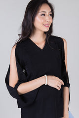 Mothercot Black Peekaboo Sleeves Nursing Top  by JumpEatCry - Maternity and nursing wear