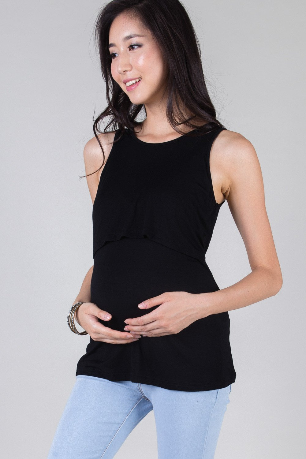 Mothercot Black Basic Nursing Top  by JumpEatCry - Maternity and nursing wear