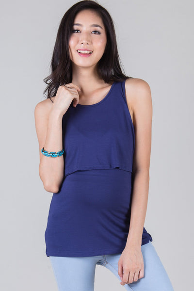 SALE Blue Basic Nursing Top