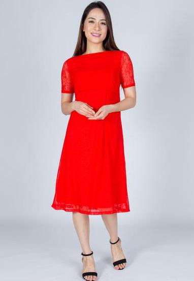SALE Red Abigail  Nursing Dress  by Jump Eat Cry - Maternity and nursing wear