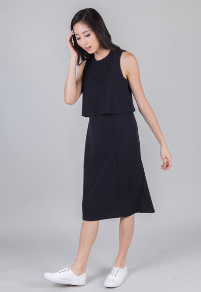 Black London Midi Nursing Dress