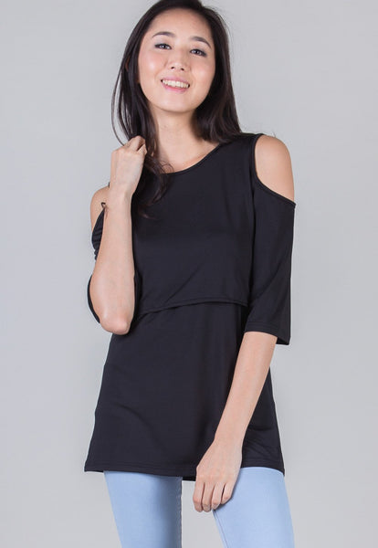SALE Black Regin Cutout Nursing Top