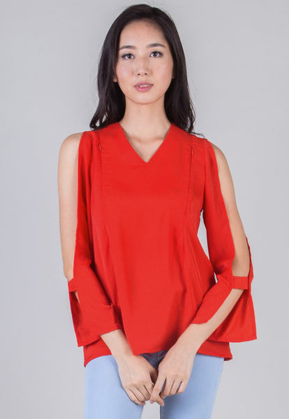 SALE Red Peekaboo Sleeves Nursing Top
