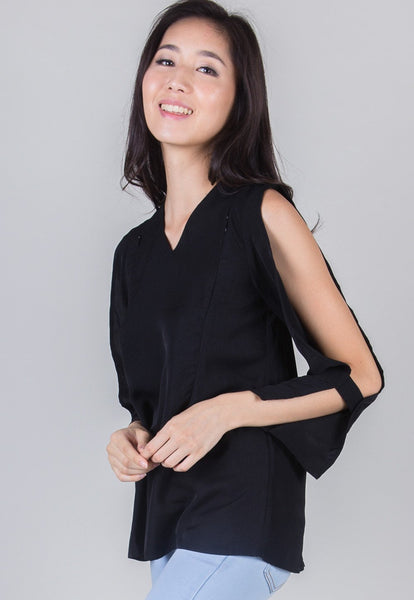 SALE Black Peekaboo Sleeves Nursing Top