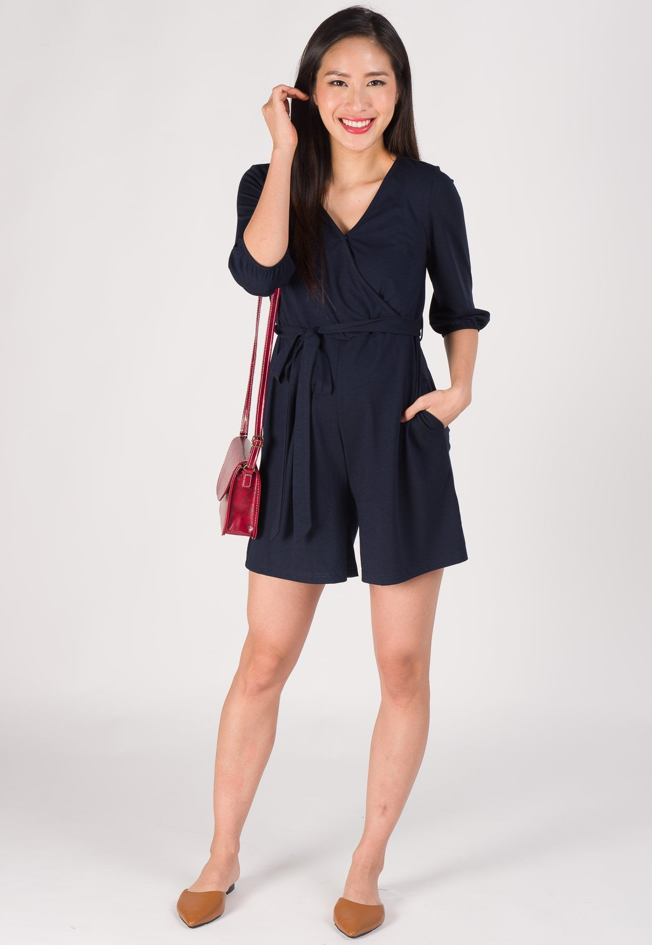 Mara Nursing Romper in Navy  by Jump Eat Cry - Maternity and nursing wear