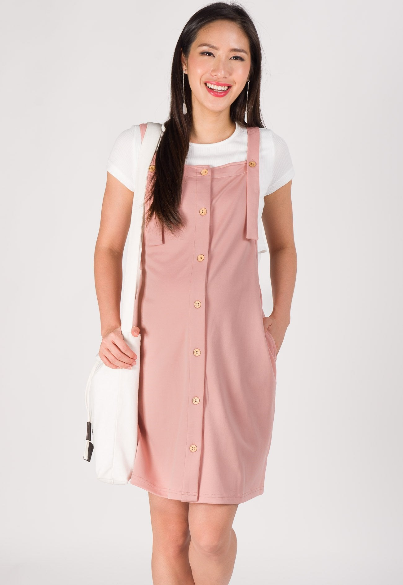 Maya Overall Nursing Dress in Pink  by Jump Eat Cry - Maternity and nursing wear