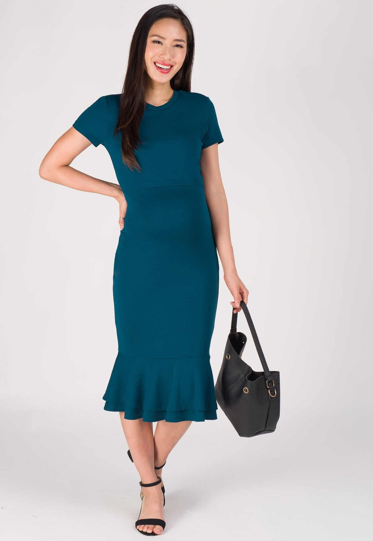 Mermaid Hem Bodycon Nursing Dress in Blue Green  by Jump Eat Cry - Maternity and nursing wear