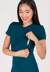 Mermaid Hem Bodycon Nursing Dress in Blue Green Nursing Wear Mothercot