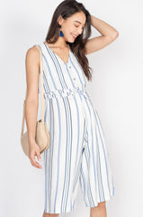 Nancy Flared Overlay Top Nursing Jumpsuit in Blue  by Jump Eat Cry - Maternity and nursing wear