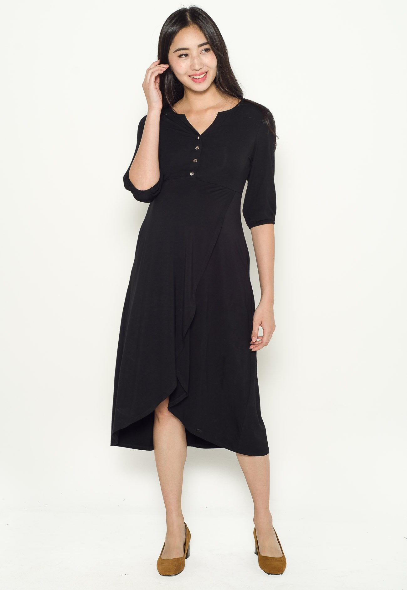 Natalia Wrapped Skirt Nursing Dress  by Jump Eat Cry - Maternity and nursing wear
