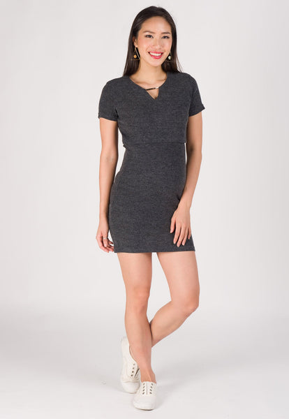 Nelya Ribbed Knit Nursing Dress in Dark Grey