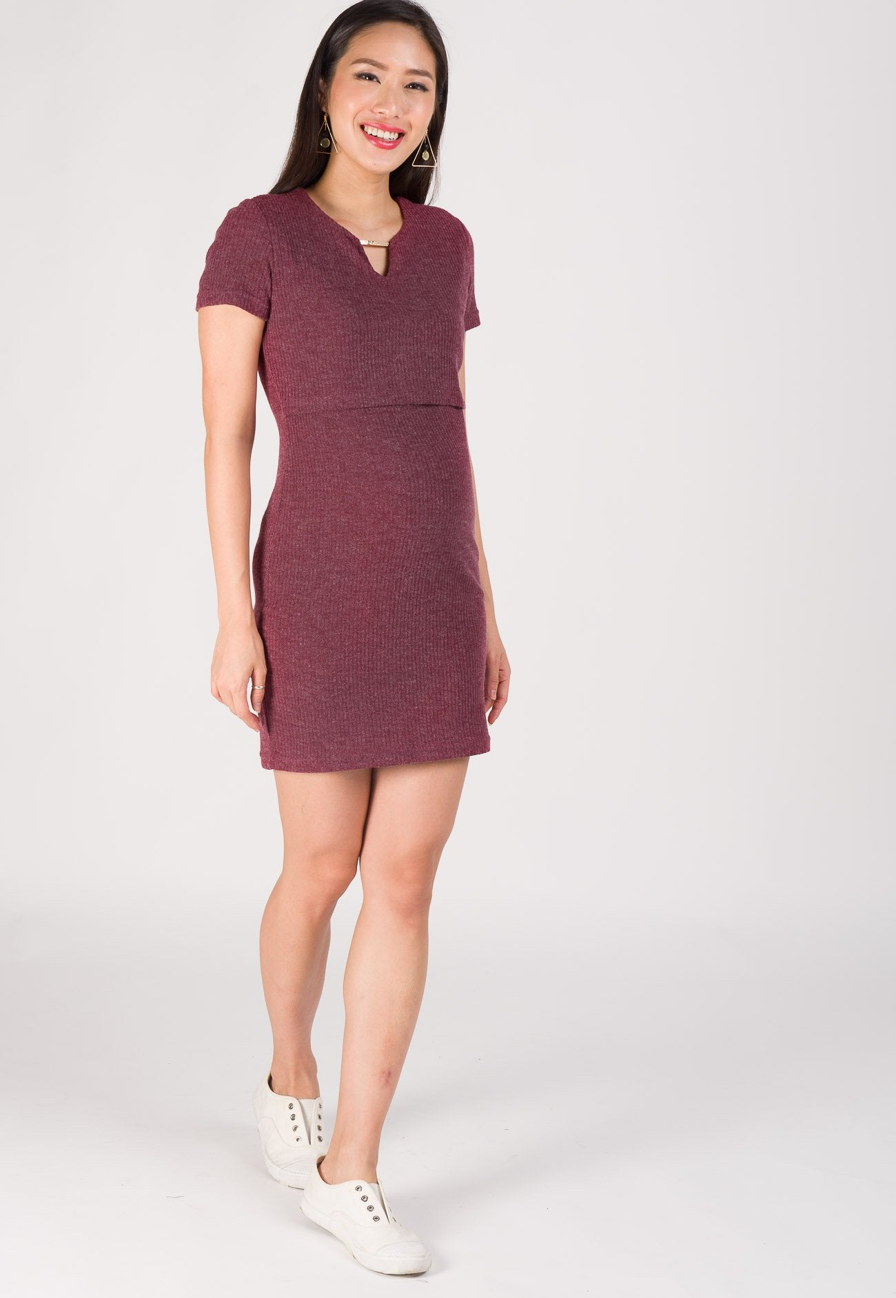Nelya Ribbed Knit Nursing Dress in Wine  by Jump Eat Cry - Maternity and nursing wear