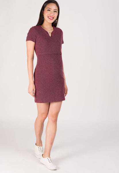 Nelya Ribbed Knit Nursing Dress in Wine