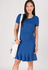 Pocket and Flares Nursing Dress in Blue  by Jump Eat Cry - Maternity and nursing wear