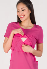Pocket and Flares Nursing Dress in Pink  by Jump Eat Cry - Maternity and nursing wear