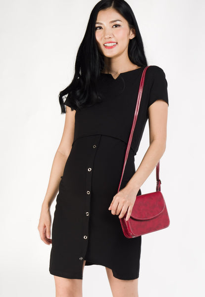 Poppy Bodycon Nursing Dress in Black