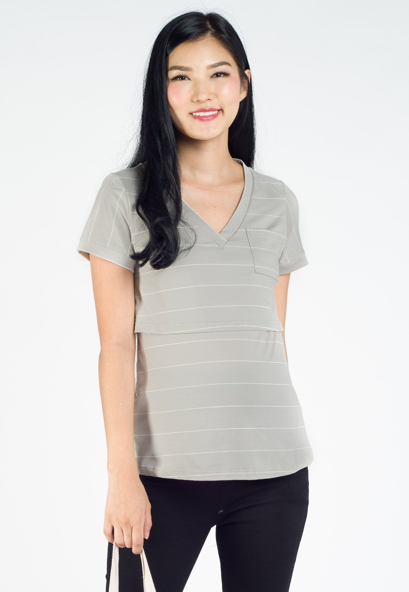 Renee Striped and Pocket Nursing Top in Light Grey  by Jump Eat Cry - Maternity and nursing wear