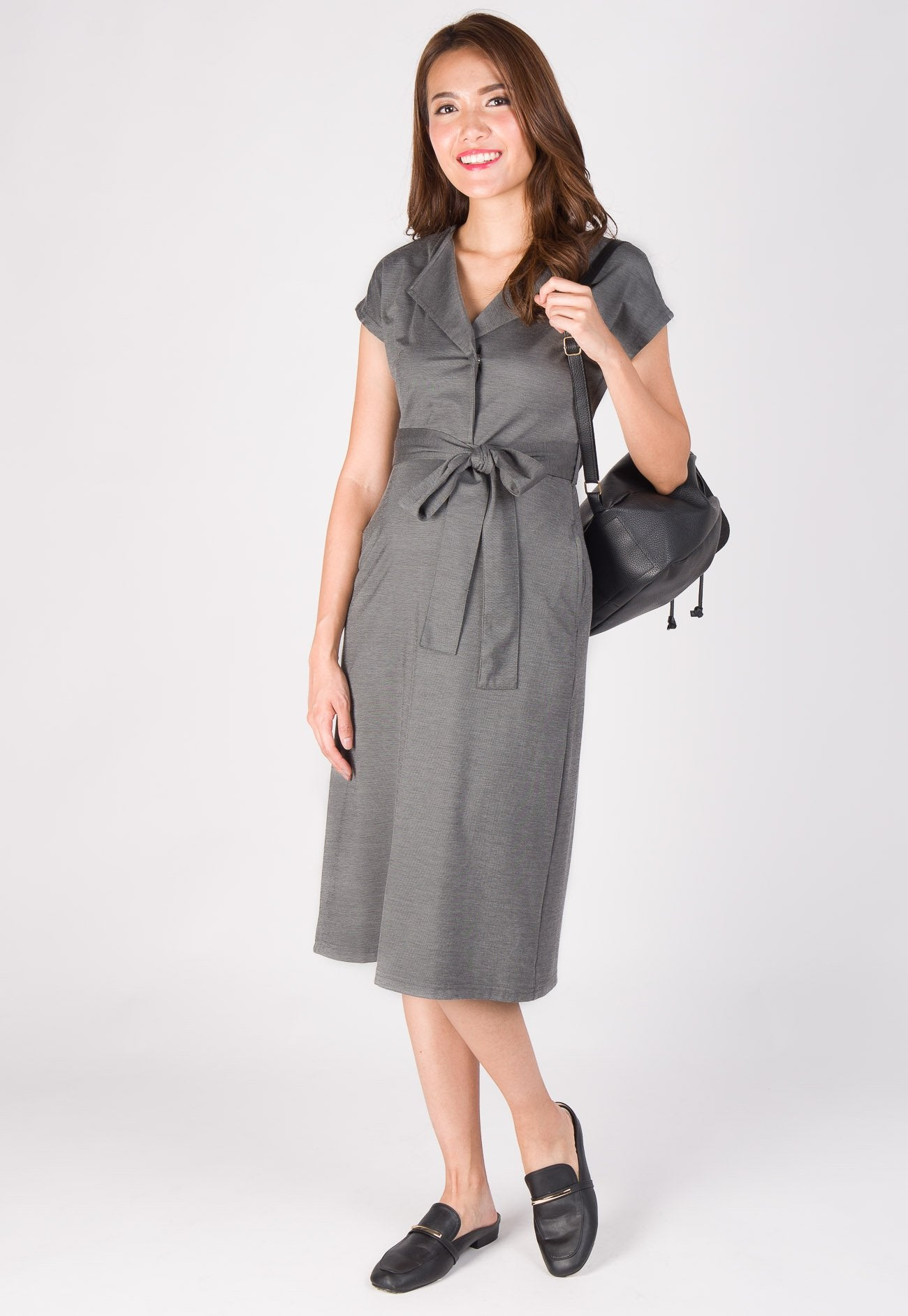 Revana Poet Collar Nursing Dress in Grey  by Jump Eat Cry - Maternity and nursing wear