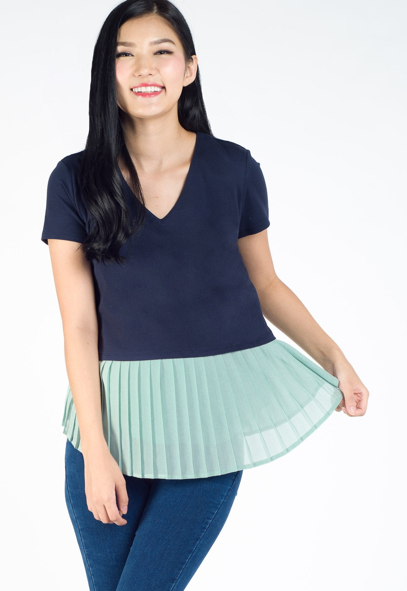 Sarah Pleated Nursing Top in Blue  by Jump Eat Cry - Maternity and nursing wear