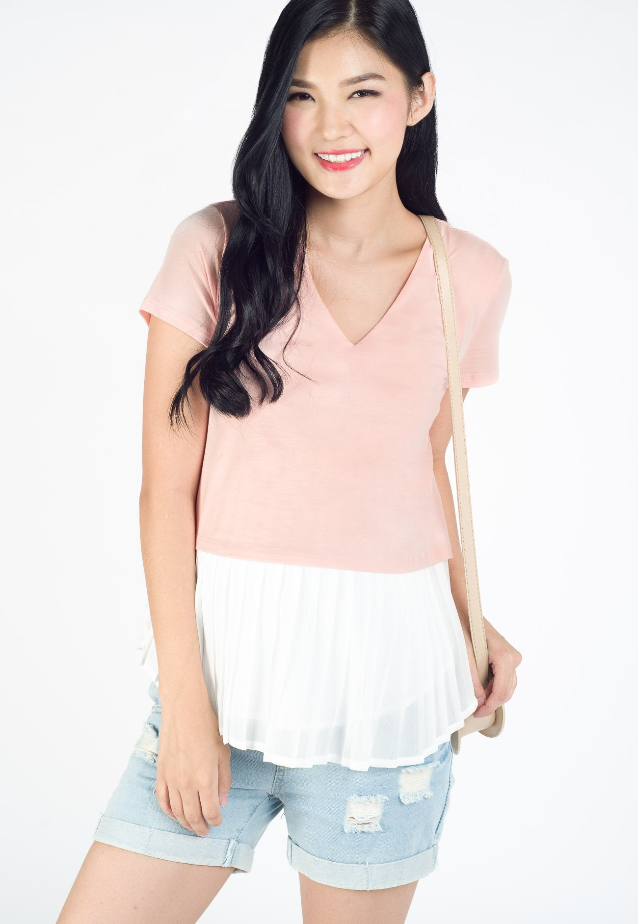 Sarah Pleated Nursing Top in Pink  by Jump Eat Cry - Maternity and nursing wear