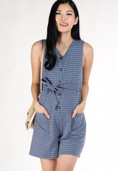 Skye Printed Nursing Romper in Blue