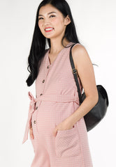Skye Printed Nursing Romper in Pink  by Jump Eat Cry - Maternity and nursing wear