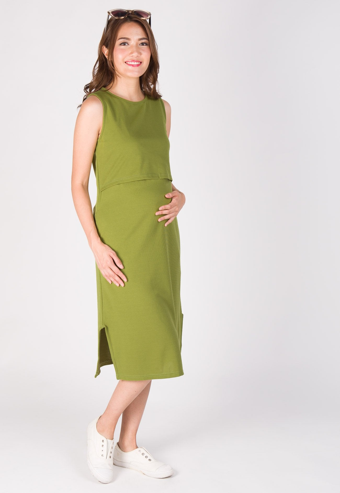 Sleek Slit Nursing Dress in Green  by Jump Eat Cry - Maternity and nursing wear