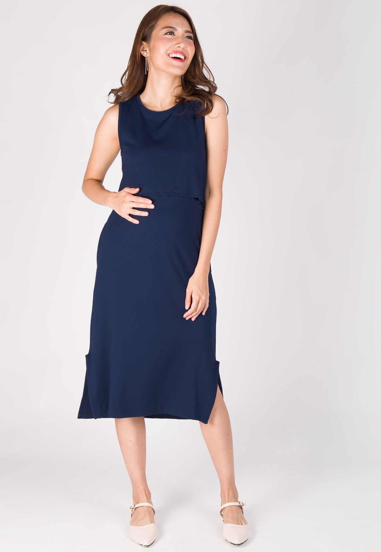 Sleek Slit Nursing Dress in Navy Nursing Wear Mothercot