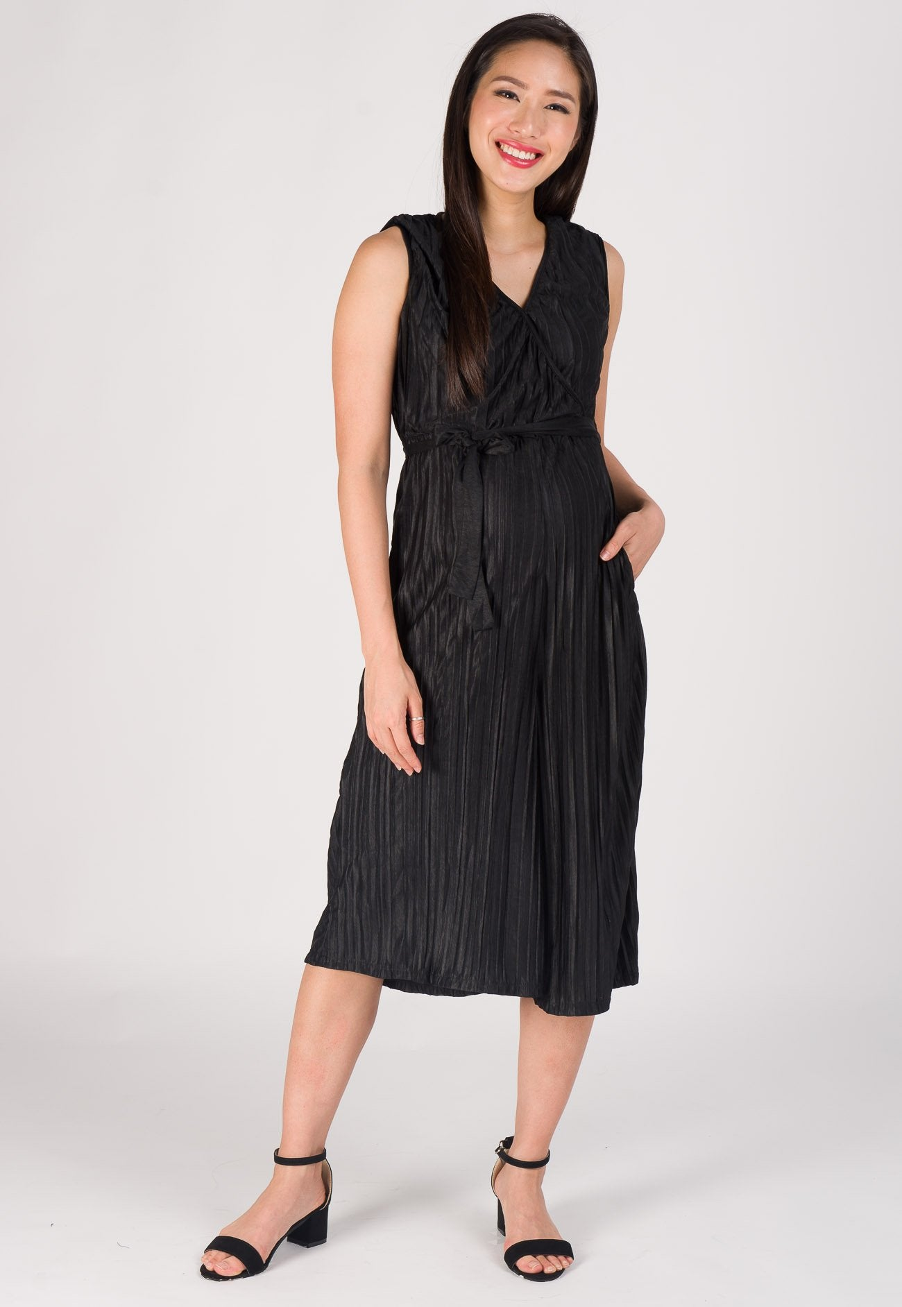 Sleek Wrapped Pleated Nursing Jumpsuit in Black  by Jump Eat Cry - Maternity and nursing wear