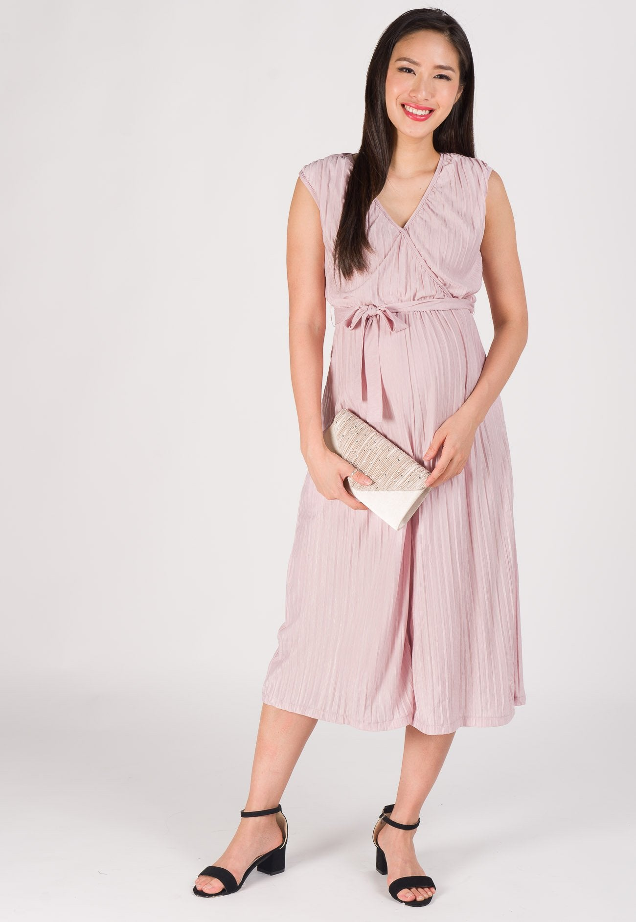 Sleek Wrapped Pleated Nursing Jumpsuit in Pink Nursing Wear Mothercot