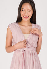 Sleek Wrapped Pleated Nursing Jumpsuit in Pink  by Jump Eat Cry - Maternity and nursing wear