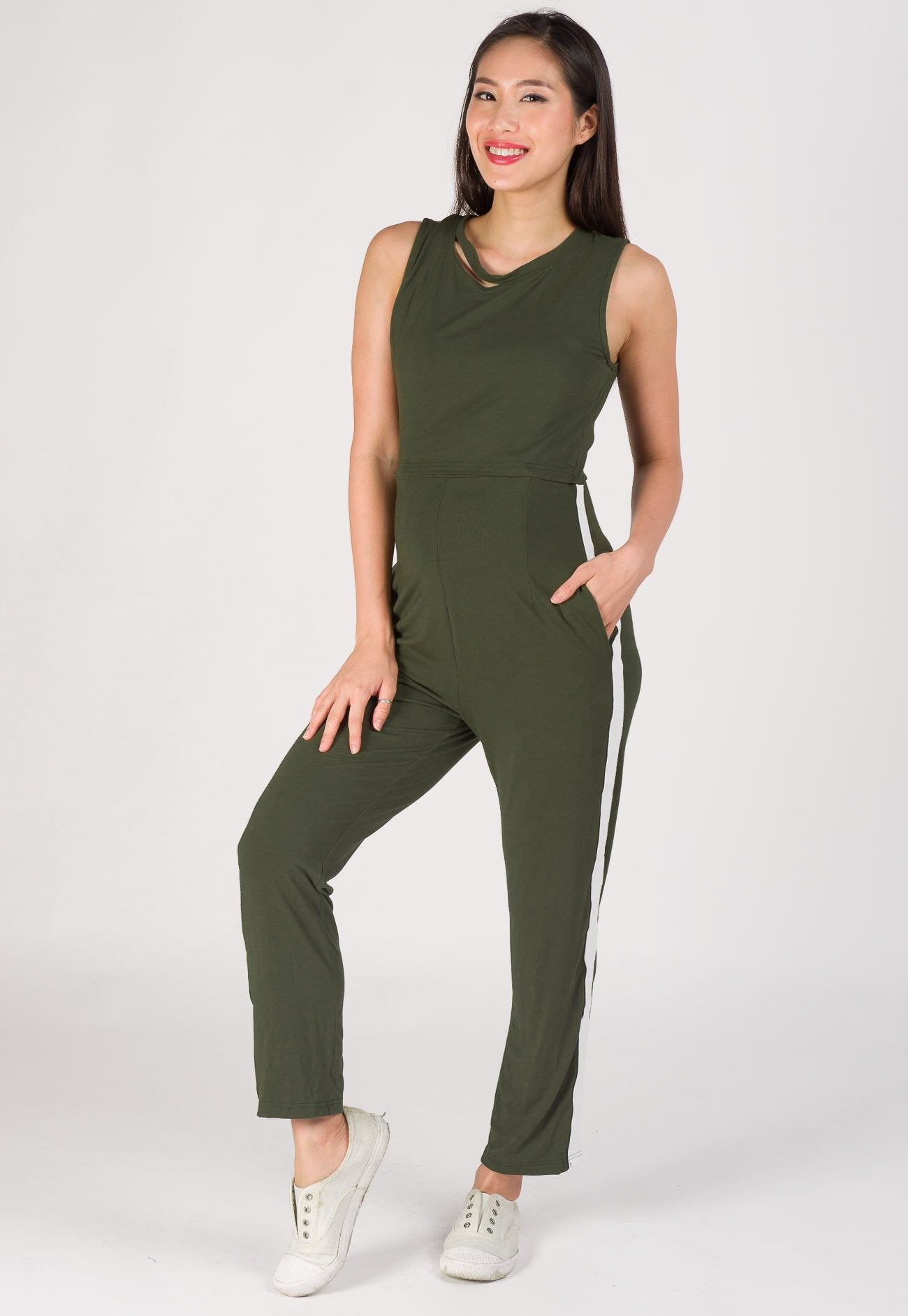 Sporty Side Band Nursing Jumpsuit in Green  by Jump Eat Cry - Maternity and nursing wear